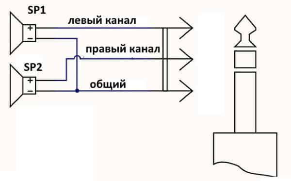 электрическая схема подключения наушников