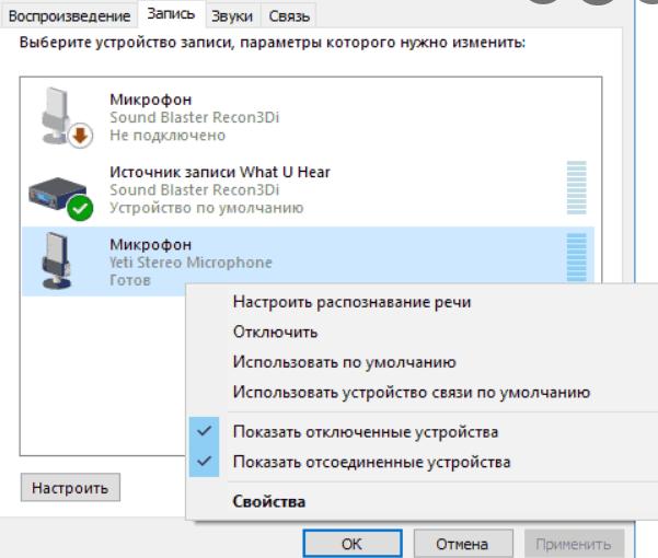настроить микрофон согласно скриншоту